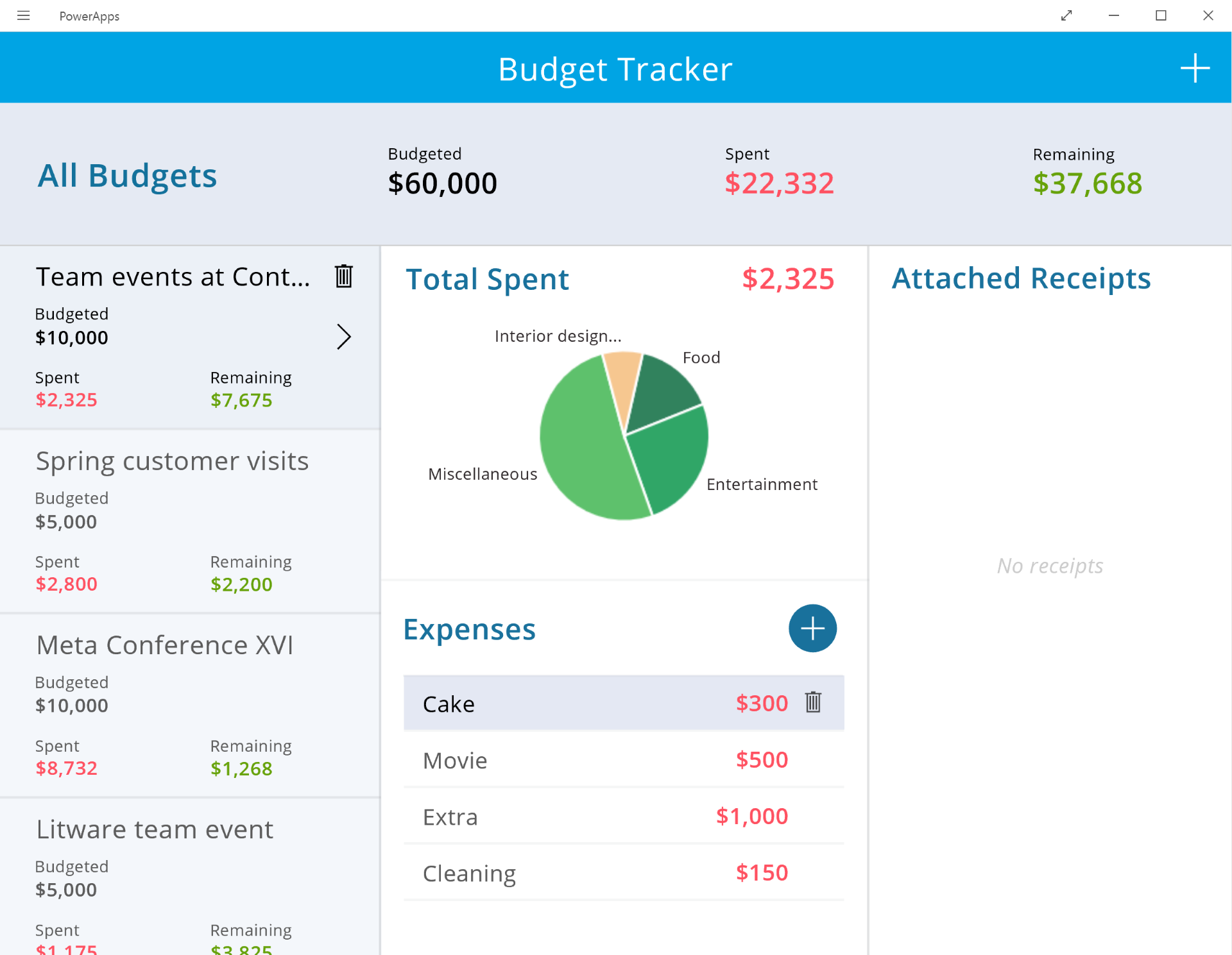 PowerApps Budget Tracker